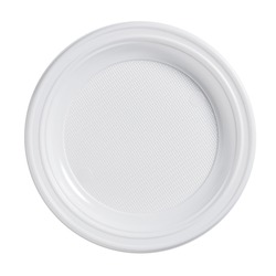 Disposable plastic plate isolated on a white background, top view