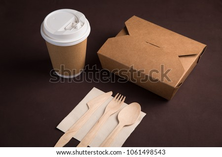 disposable table wares on table