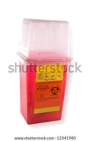Disposal container for medial syringes and needles, isolated on white background with clipping path