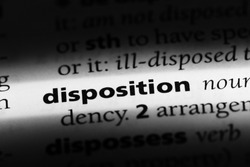 disposition word in a dictionary. disposition concept