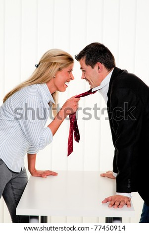 Dispute among employees at work in an office