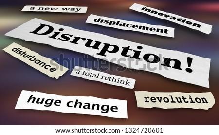 Disruption Change Innovation Headlines 3d Illustration