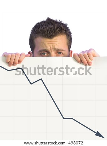 dissapointed business man holding a card with a graph going down