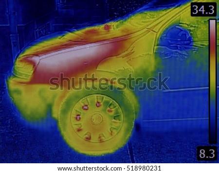 Dissipation of Heat Thrue Car Sheet Metal. Infrared Thermal Imaging