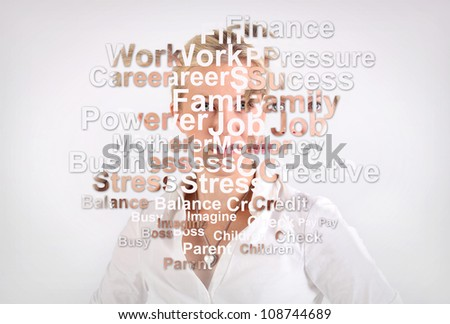 Dissolved woman portrait with words