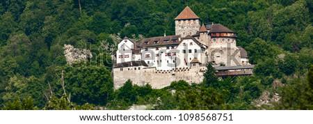 Distance view at Vaduz Castle in Liechtenstein