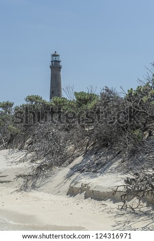 Distance view of a lighthouse in Dry Tortugas, Florida