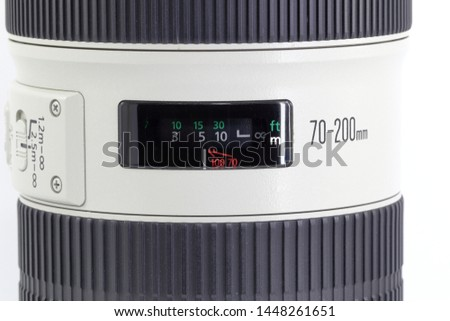distances scale window of a professional lens isolated on white background.