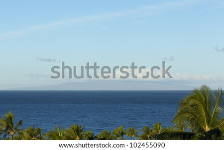 Distant island of Lanai as seen from Wailea coast of Maui, Hawaii