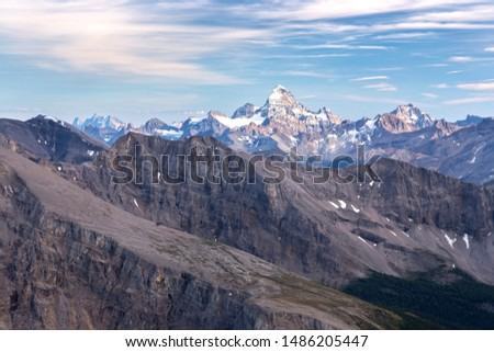 Distant Mountain Assiniboine or Matterhorn of the Rockies Landscape View from Summit of Mount Bourgeau, Banff National Park, Canadian Rocky Mountains #1486205447