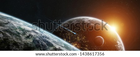 Distant planet system in space with exoplanets during sunrise 3D rendering elements of this image furnished by NASA #1438617356