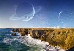Distant planet system view from cliffs and ocean '3D rendering' 'elements of this image furnished by NASA'
