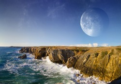 Distant planet system view from cliffs and ocean 'elements of this image furnished by NASA'