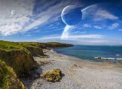 Distant planet system view from cliffs and ocean 'elements of this image furnished by NASA' '3D rendering'