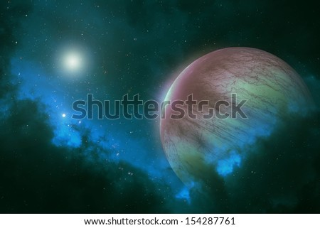 Distant planet with bright stars in deep space galaxy - human Mars colony - stock photo