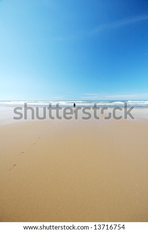 Distant silhouette of a woman standing on a bright, beautiful beach by the wave line, with a footstep trail in the wet sand.