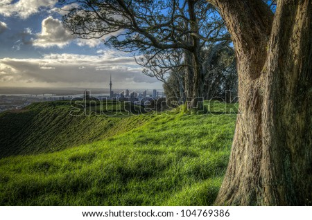 Distant view of Auckland city across a hilltop