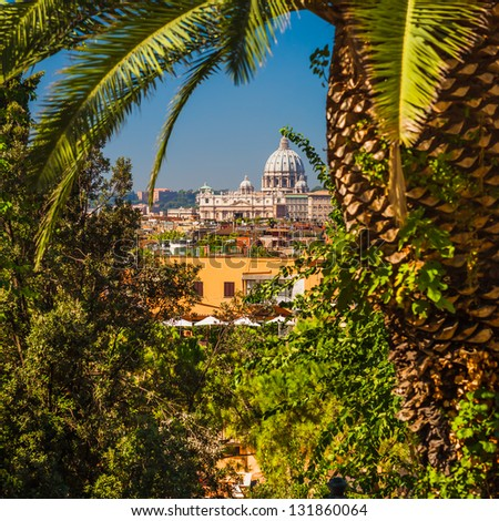 Distant View of Basilica Sant Pietro in Vatican (viewed through