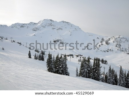 Distant view of one of lift stations at Whistler-Blackcomb ski resort