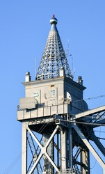 Distinctive Art Deco finial at the top of a tower at the Cape Cod Canal Railroad Bridge, a vertical lift bridge in Bourne, Massachusetts near Buzzards Bay.