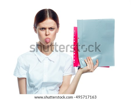 distraught young woman. Dismissal. Show tongue