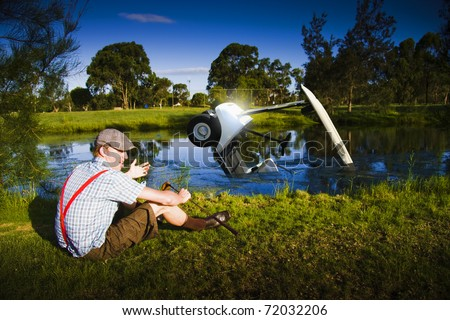Distressed And Unhappy Golfer With Bad Driving Skills Crashes The Golf Buggy Into A Golf Course Lake In A Funny Image Representing Golf Problems And Issues