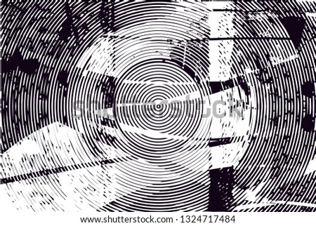 Distressed background in black and white texture with  dark spots, scratches and lines. Abstract illustration #1324717484