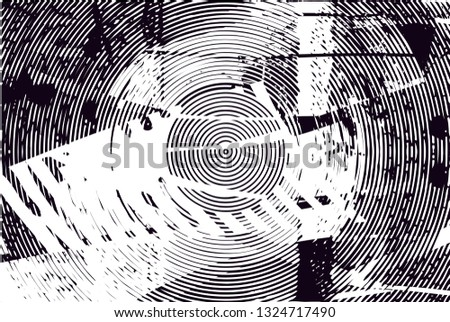 Distressed background in black and white texture with  dark spots, scratches and lines. Abstract illustration #1324717490