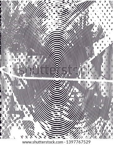 Distressed background in black and white texture with  dark spots, scratches and lines. Abstract illustration #1397767529
