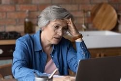 Distressed mature grey-haired woman look at laptop screen have problems pay household bills or taxes online. Unhappy stressed senior female in glasses troubles with computer slow internet or spam.