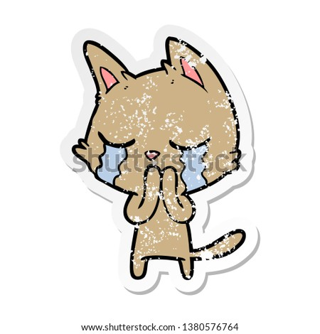 distressed sticker of a crying cartoon cat #1380576764