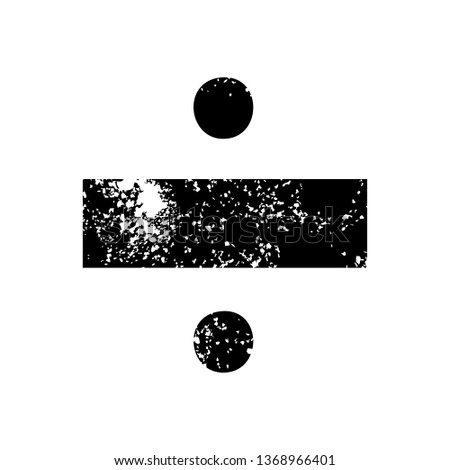 distressed symbol of a division symbol