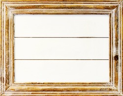 Distressed white painted photo frame, vintage object.