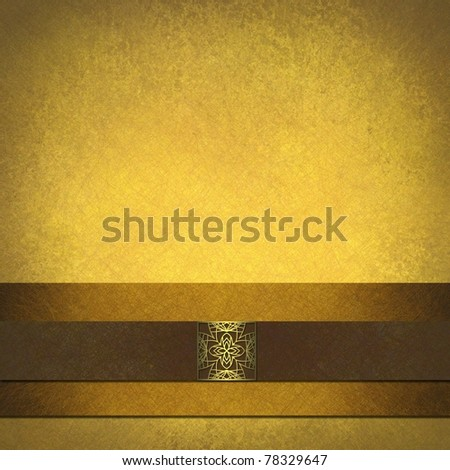distressed yellow gold background with warm brown tone and grunge textured surface, with elegant velvet brown ribbon on gold stripe, with fancy gold seal
