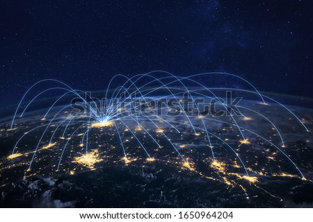 distribution and delivery concept, global business communication network, planet elements of the image furnished by NASA ストックフォト ©