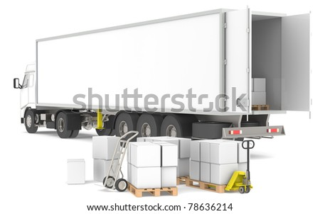 Distribution. Open trailer with pallets, boxes and trucks. Part of a Blue and yellow Warehouse and logistics series.