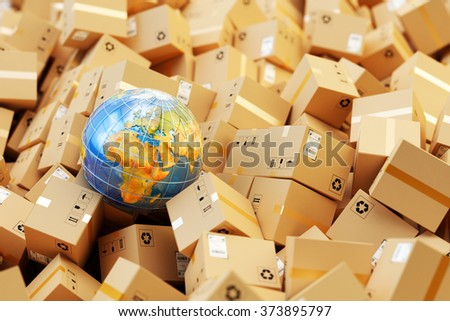 Distribution warehouse, international package shipping, global freight transportation, logistics and delivery concept, heap of cardboard boxes, parcels and Earth globe (Elements furnished by NASA)