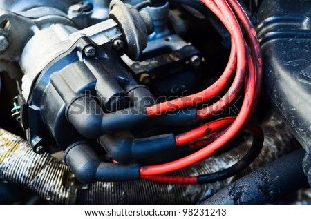 distributor cap with silicone wires car parts