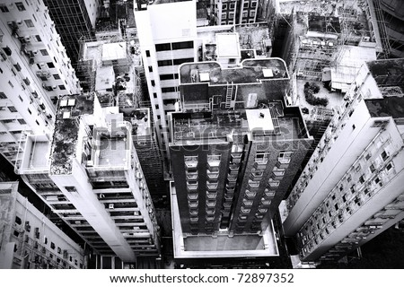 District at Hong Kong, view from skyscraper. Black and white image.