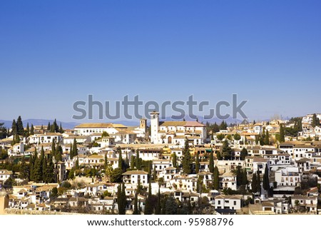 District of Albaicin, Granada, from the walls of the Alhambra.