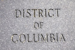 District Of Columbia etched into a stone wall.