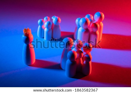 Disunity in society. Groups in a team. People are divided into groups. The concept of a divided society. Groups in a team. Each group has its own goals. The concept of a conspiracy. Photo stock ©