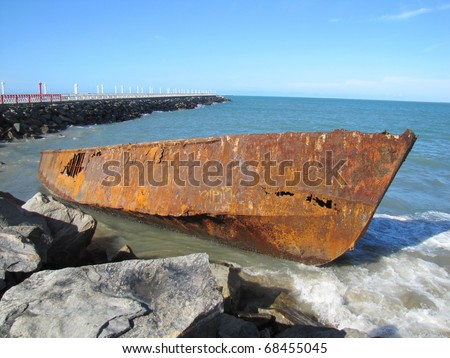 Disused boat on the beach in Fortaleza, Brazil