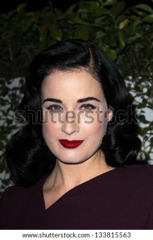 """Dita Von Teese at the Launch of Kimberly Snyder's """"The Beauty Detox Foods,"""" Smashbox Studios, Hollywood, CA 03-26-13 - stock photo"""