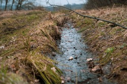 ditch with a water in the wild field and forest on background