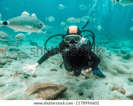 dive - a young girl on a diving course in the sea with many fish