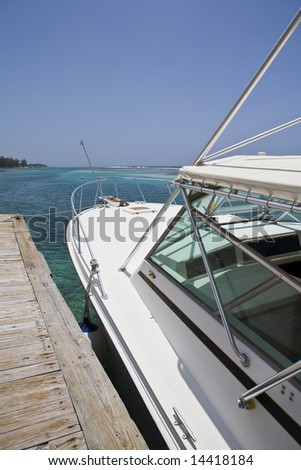 Dive Boat docked in the Caribbean on Cayman Brac
