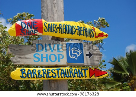 Dive shop sign