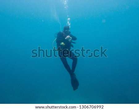 diver do safety stop after diving at 30 meter in maratua. A safety stop is a 3 to 5 minute stop made between 15 and 20 feet (5-6 meters) during the final ascent of a dive. #1306706992
