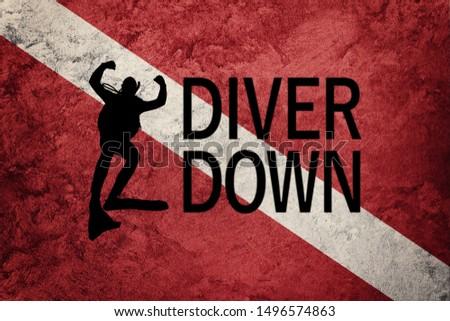Diver Down Flag, Diver Silhouette, Vintage Style  Scuba flag. #1496574863